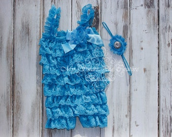 Turquoise Embelished Lace Petti Romper & Headband Set - Ruffle Romper Set- Romper- Baby Petti Romper- Headband- Photo Prop- Birthday Outfit