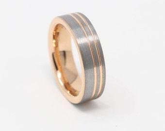 Gorgeous Silver & Rose Gold Tungsten Mens Wedding Band, 6MM Width, Tungsten  Carbide,