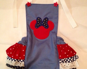 Red, White, and Blue Minnie Mouse Ruffled Romper SIZES NEWBORN to 9 MONTHS