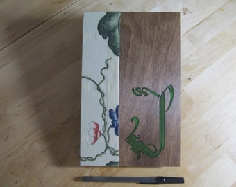 Hand bound wooden journal with initial