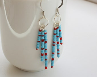 CLEARANCE Turquoise Seed Bead Earrings, Red Seed Bead Earrings, Blue Bead Earrings, Silver Wire Earrings, Lightweight Earrings
