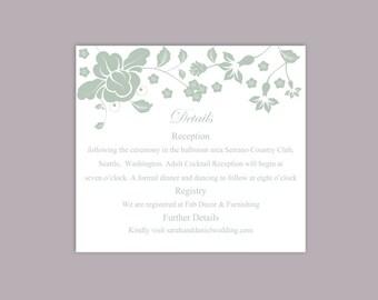 DIY Wedding Details Card Template Download Printable Wedding Details Card Editable Green Details Card Floral Boho Enclosure Cards Party Card