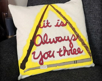 Always You Three Pillow Cover, Wands, Deathly Hallows, Harry Potter, Ron Weasley, Hermione Granger, Home Decor, Pillow