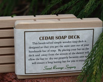 CEDAR SOAP DISH | Wood Soap Saver | Handcrafted | Wooden Soap Deck | Wood Dish | Handmade | All Natural