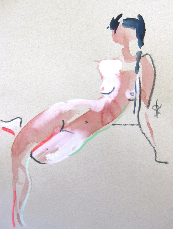 Nude painting- Original watercolor painting of Nude #1456 by Gretchen Kelly