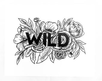 Letterpress Wild Print | Flowers | Poster | Boho | Floral Print