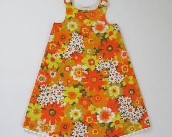 Orange Floral Girls Dress, Toddler Dress, Girls Sundress, Girls Pinafore, Orange & Yellow Flower Frock from Vintage Fabric Size 2T - Girls 6