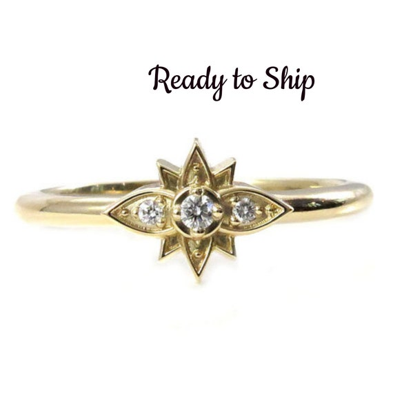 Ready to Ship Size 7-9 - Tiny Diamond Flower Ring - Stacking 14k Yellow Gold