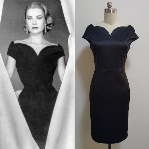Grace Kelly / Midi Abendkleid / Vintage 50er Jahre / schwarzes
