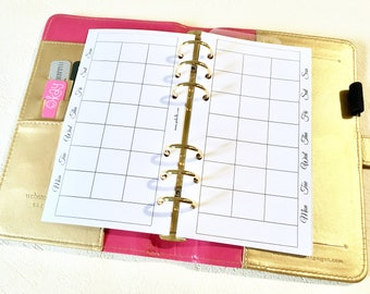 SHIMMER - Month on Two pages - Insert Personal - Filofax - Kikki K - Paperchase - Planner - Ring Binder - 6 holes punched - Undated