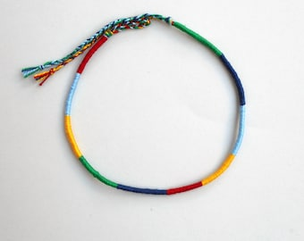 Friendship anklet, Rope anklet, Surfer gifts, Cotton anklet, Color block, Mens anklet, Teenagers gift, Boyfriend gift, Beach anklet, Hippie