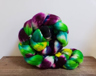 Superwash Targhee- USA- Organic- combed- wool top- roving- 4oz- Hand Painted-Hand Dyed- Once Upon a Time