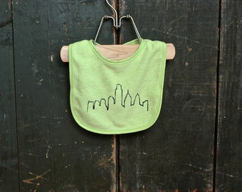 Green Philadelphia Skyline Baby Bib Philly Newborn New Baby Gift Baby Shower Girl Boy Unisex