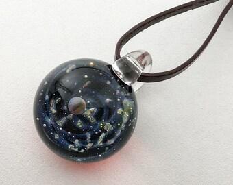 Glass opal pendant, woman pendant, men pendant, galaxy pendant, Space Glass, borosilicate glass, gilson opal, leather