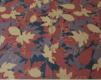 Flannel Fabric - Fall Leaves - By the yard - 100% Cotton Flannel
