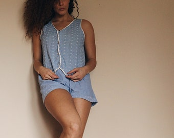 Blue Chambray Playsuit, Floral Embroidered Play Set, Boho Romper, Cotton Jumpsuit, Summer two piece