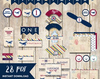 Time flies 1st birthday,airplane party package,Time flies party package,airplane party decor,airplane party printable,packages,boy birthday