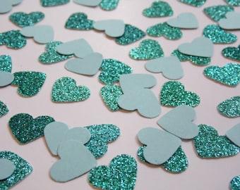 Turquoise Glitter Heart Confetti, Wedding Reception Decoration, Table Scatter, Paper Confetti, Bridal Shower Decor