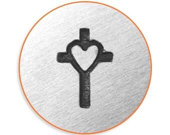 Impress Art 6mm Cross with Heart Metal Stamp Design Stamp  Decorative Stamp
