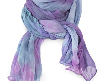 Silk scarf, chiffon scarf, pastel scarves, blue scarf, lavender scarf, crinkle scarf, mother's day gift, trending now, easter scarf, easter