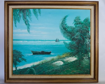 """Vintage Original 20x24"""" Painting of a Beach/Shore with a Rowboat"""
