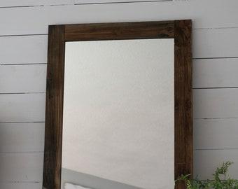 Wood Mirror, Large Mirror, Farmhouse Mirror, Reclaimed Wood Mirror, Farmhouse Decor, Hanging Mirror, Bathroom Mirror, Vanity Mirror,Mirror