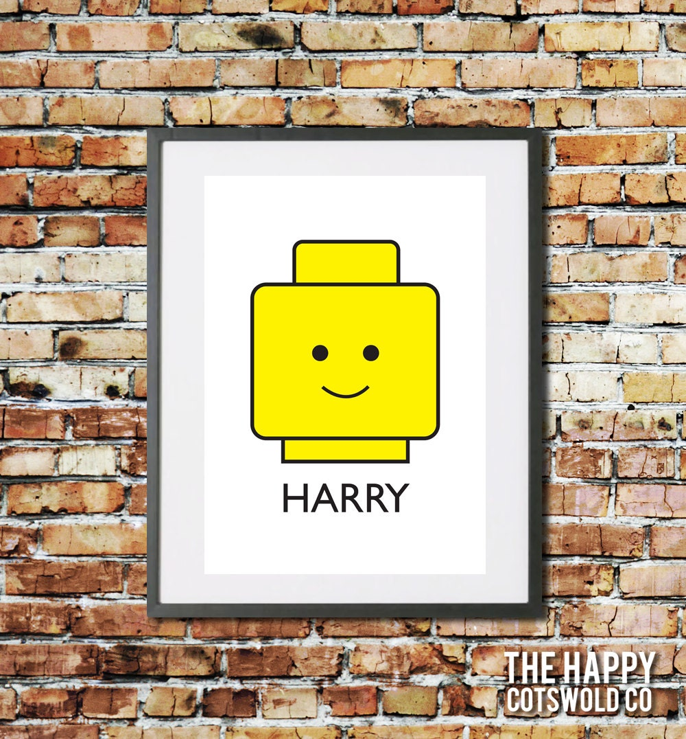 Personalised name Lego head art print. Custom nursery wall