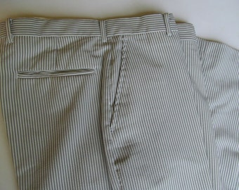 Haband Men's Pant grey/brown with white stripes   34'' x 27''  Vintage Pants