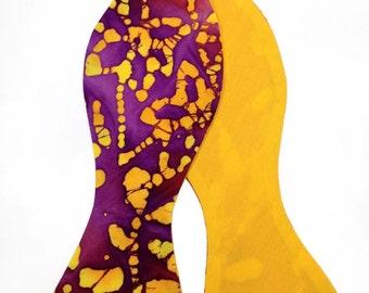 Orange & Yellow Batik Self Tie, Autumn Colours Batik Self Tie, Fathers Day Self Tie Bow Tie, Mens Self Tie Bow Tie, Novelty Bow Tie