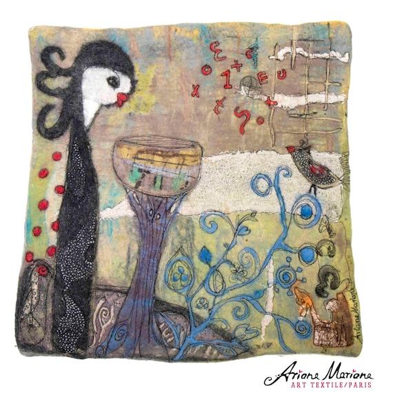 Fiber art painting, original textile art, contemporary fiber art, felt, embroidery