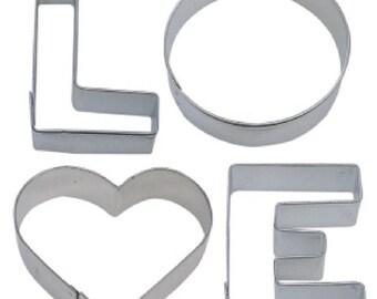 4 Piece LOVE word Cookie Cutter Set New!