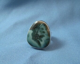 Morris Vein Agate And Silver Womens Ring