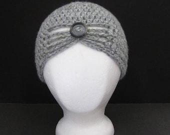 Ladies Hand Crocheted Gray Cap
