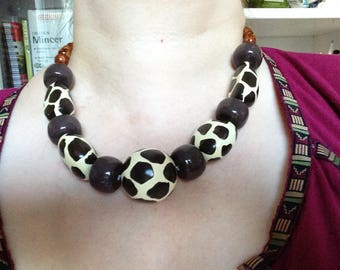 Chunky Bead Necklace, Fall Fashion, Animal Pattern Beads, Brown Necklace, Earth Tones Beads, Boho Fashion, Bold Necklace, Vintage Necklace,