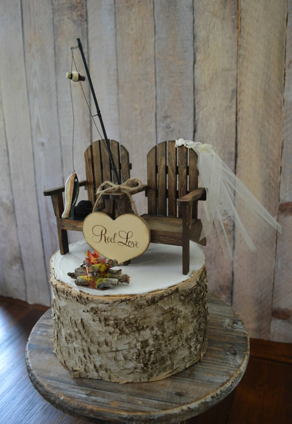 Fishing Camping Themed Wedding Cake Topper Fishing Pole Camp