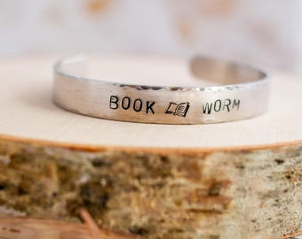 Bookworm Silver Cuff Bracelet - Bookish Gift - Book Worm - Book Jewelry - Book Nerd - Book Bracelet