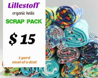 fabric bundle - SCRAP PACK - PRINTS - organic jersey knit scrap pack all fabrics are Lillestoff includes four to five pieces - Awsome Deal!!