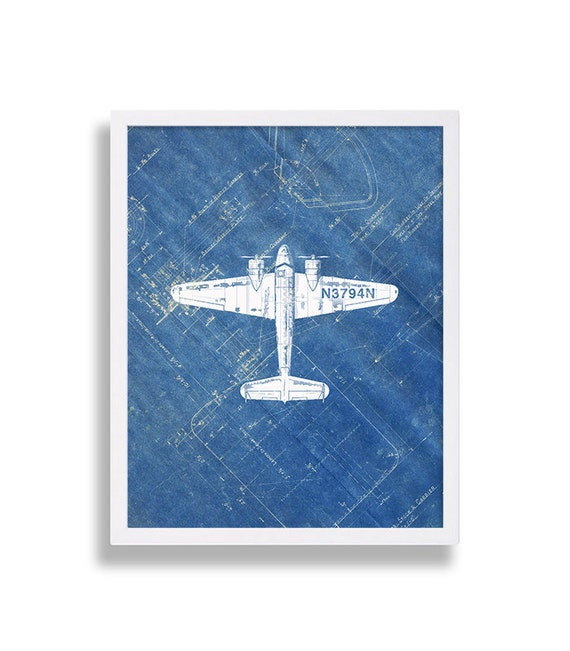 Airplane print on blueprint paper industrial art modern like this item malvernweather Image collections