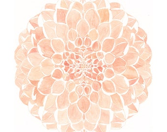 DAHLIA Mosaic Botanical Watercolor (Art Print) Floral Flower Wall Decor