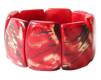Tagua Bracelet, Red Bangle Bracelet, Eco-Friendly Bracelet, Sustainable Jewelry, Handmade Bracelet, stocking stuffer, chunky bracelet, vegan