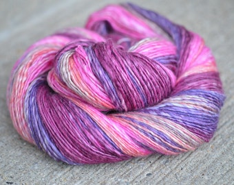 Blackberry Haze - Bluefaced Leicester (BFL)/Silk singles handspun yarn - sport weight, 310 yards