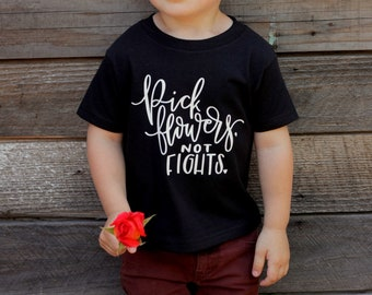 Boy Baby Shirt Kids Fashion Words to Live by World Changer Unisex Pick Flowers Tee Shirt 6MO 12MO 18MO 24MO