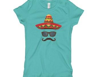Cinco De Mayo Girl's T-Shirt // Decor De Mayo Party Shirt // Holiday Festival Party T Shirt // Cool Suave Mustache Tee