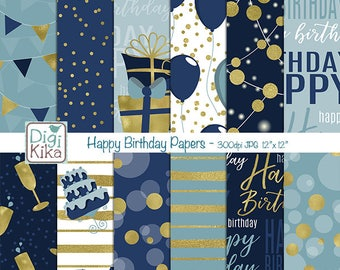 Happy Birthday Digital Papers - Scrapbooking, card design, invitations, stickers, background, paper crafts, web design - INSTANT DOWNLOAD