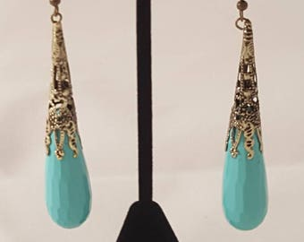 Gold & Teal Tear Drop Earrings - Teal Tear Drop Earrings - Gold Tear Drop Earrings - Tear Drop Earrings - Teal Earrings - Gold Tea Earrings