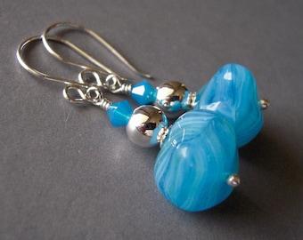 Aqua Blue Czech Glass Earrings, Sterling Silver, Czech Glass Earrings, Hand Made Drop Earrings