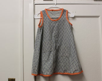 Little Girls Size 10/12 Upcycled 1970's Cotton Smock Dress/Romper With Asymmetrical Pockets Perfect for layering- One of a Kind/Handmdae