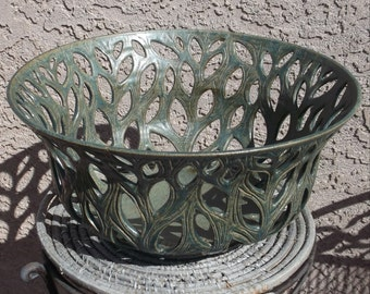 Large Leafy Bowl in Green - Handcarved Pottery