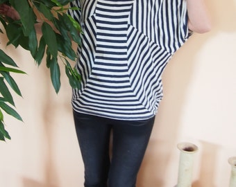 Over-sized Short Sleeve Jersey Tunic Striped Elegant Top