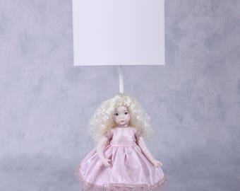 Porcelain collectible doll, art doll, handmade doll, doll&lighting, lighting